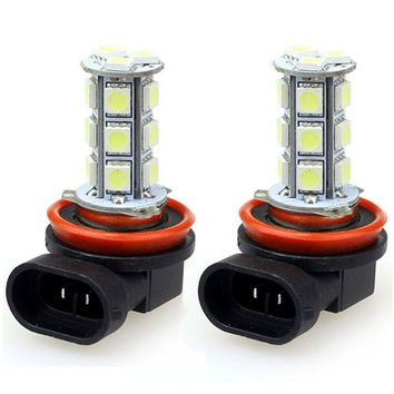 AUTO 2x H11 H8 18 LED 5050 SMD Xenon Gas Headlight White Light Lamp Bulbs 100W 12V Lights car light auto car styling Jul 21