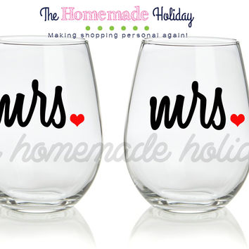 Mrs. and Mrs. Stemless Wine Glasses