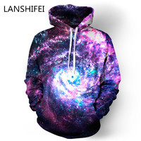 Unisex Simulation Printing Galaxy Pocket Hooded 3D sweatshirt space/galaxy print hooded hoodies tracksuits  with pockets