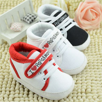 I Love Mum And Dad Baby Shoes Girl Soft Bottom Footwear Newborn Baby Shoes Free Shipping