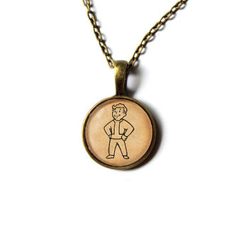 Fallout pendant Vault boy necklace Post nuclear jewelry Antique style n254