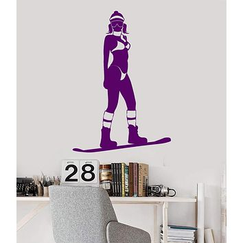 Vinyl Wall Decal Snowboarding Extreme Sport Snowboarder Girl Stickers Unique Gift (1024ig)