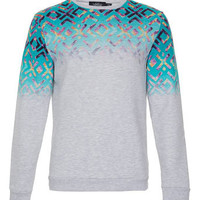 Light Grey Marl Faded Aztec Printed Sweatshirt - New In