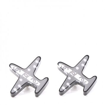 CHANEL Resin Pearl CC Airplane Earrings Black White