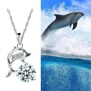 Dolphins Silver Plated Creative Pendant Necklace
