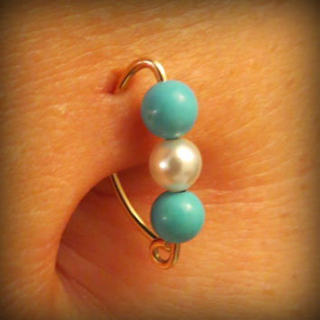 14K Gold Turquoise & Pearl Belly Button Ring