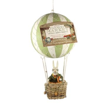 Easter FARMER'S MARKET HOT AIR BALLOON Polyresin Rabbit Basket Tj6220