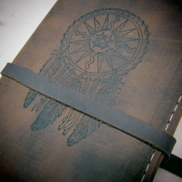 Leather journal or sketchbook featuring  free personalization dreamcatcher
