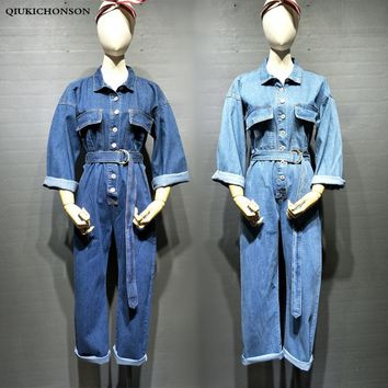 Fashion Women Jeans Jumpsuit Long Sleeve Korean Fashion Turn-down Collar Single-breasted Tunic Jumpsuit Denim Overalls