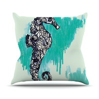 "Sonal Nathwani ""Seahorse"" Green Aqua Throw Pillow"