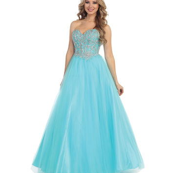 Preorder -  Aqua Beaded Strapless Sweetheart Gown 2015 Prom Dresses