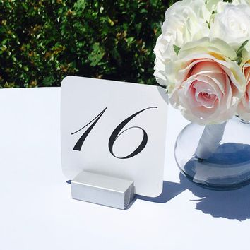 Table Number Holder Silver Card Holder Wedding Card Holder 2 inch Set of 10 For Restaurants Weddings Banquets by Gallery360Designs