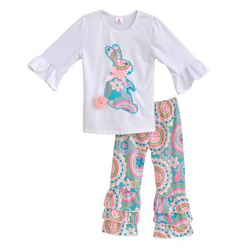Easter Boutique Girls Embroidery Outfits Big Rabbit Top Floral Ruffle Pants Fashion 2 Pcs Children Cotton Clothing Sets E001