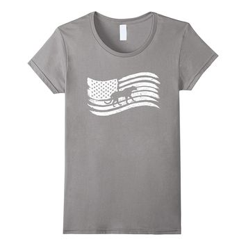 American Flag T-Shirt With Cheetah Panther Vintage Look