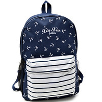 Striped navy style anchor print backpack male female student school bag
