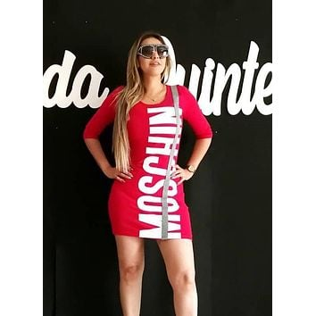 MOSCHINO Summer Popular Women Sexy Print Long Sleeve Slim Dress