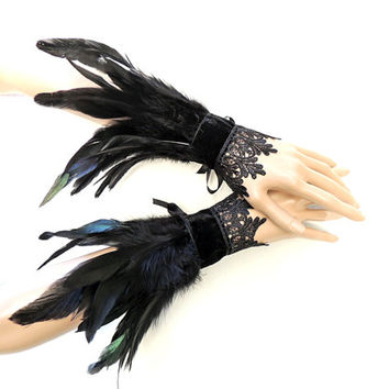 Goth raven crow feather cuff gauntlet wristbands burlesque halloween black feathers burlesque costume cosplay drag