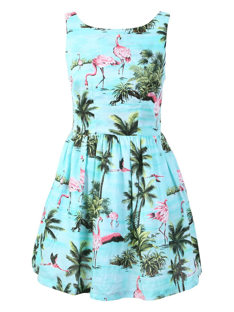 104984185e1 Blue Trees And Flamingo Print Sleeveless from Augustine s