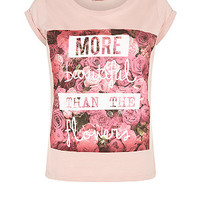 Teens Pink More Beautiful Floral Graphic T-Shirt