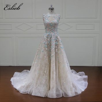 Eslieb Custom made Vestido De Noiva SLeeveless Flowers Wedding Dresses 2018 Appliques Beaded A Line Lace Bridal Gown Plus Size