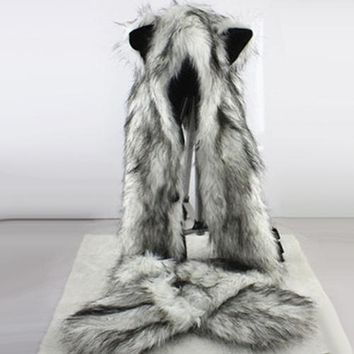 Women Fashion Wolf Ears Paws Faux Fur 3 in 1 Hat Scarf Mittens Winter Warm Cap