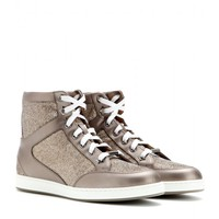 jimmy choo - tokyo leather and lamé high-tops