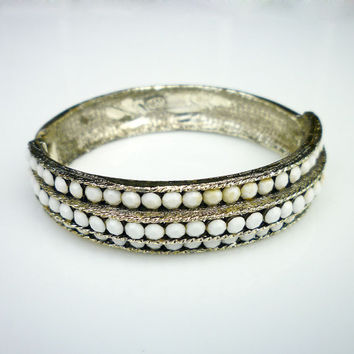 Weiss Rhinestone Bracelet White Milk Glass Hinged Clamper Bangle Gold Tone Textured Retro Vintage Jewelry
