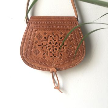 Fine Quality Embossed Tan Leather and Vintage Moroccan Cross Body Bag Brushed Gold Hardware