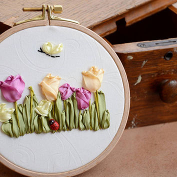 Wall hanging - Tulips and butterfly - silk ribbon embroidery - Home Decor