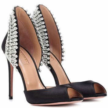 Concord 105 embellished satin pumps