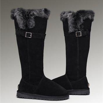 UGG Fox Fur Tall Boots 1852 Black