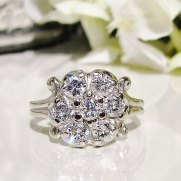 Exquisite Diamond Cluster Vintage Engagement Ring 14K White Gold Filigree 1.05ctw Diamond Wedding Ring Vintage Bridal Jewelry Circa 1940s!
