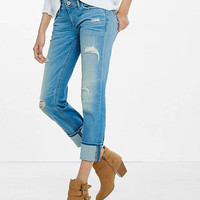 Distressed Low Rise Cropped Cuffed Skinny Jean from EXPRESS