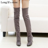 botas mujer Plus:34-42 43 fashion autumn 2017 New over-the-knee long Motorcycle boots thin high heels sexy shoes woman pumps