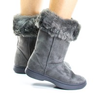 Tahoe15 By Bamboo, Winter Warm Faux Sheep Skin & Synthetic Fur Cuff, Slipper Boots, Mukluk