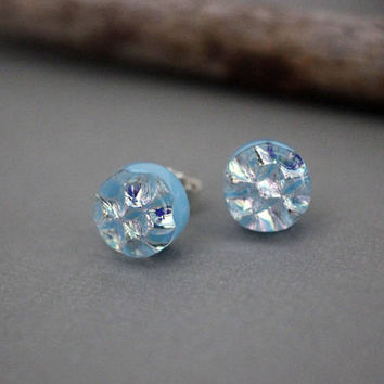 Sterling Silver Earrings Studs - Unique Stud Earrings - Blue Stud Earrings - Birthday Gift For Women - Dichroic Glass Stud Earrings