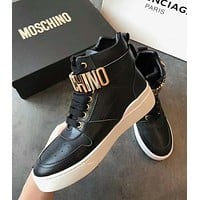 MOSCHINO High Quality Popular Women High Tops Leather Shoes Boots Black
