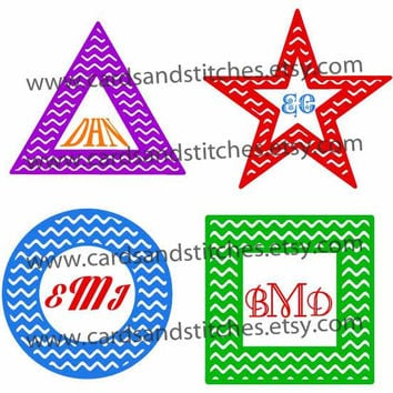 Chevron Shape Frames for Monograms Digital Cutting File (SVG, DXF, JPG)