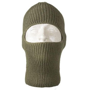 Stretchy Olive Drab Acrylic Weather Resistant One Hole Face Head & Neck Wear Mask