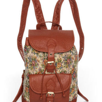 Cute Floral Backpack - Vegan Backpack - Brown Backpack - $39.00