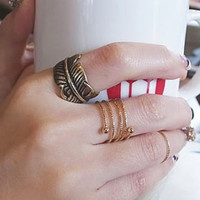 Gold Etched Knuckle Ring Set
