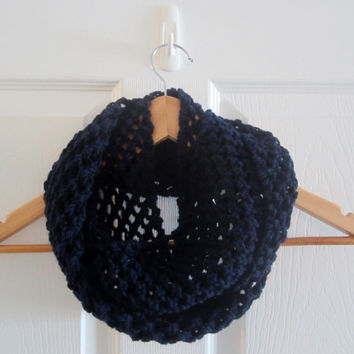 Navy Blue Scarf - Open Knit Scarf - Infinity Scarf - Hand Knit Scarf - Eternity Scarf - Circle Scarf - Acrylic Scarf - Knitted Scarves