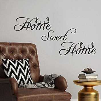 Home Sweet Home Wall Decal Family Vinyl Sticker Decals Deer Horns Hunting Home Decor Bedroom Wall Living Room Design Interior NV85 (10x22)