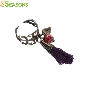 "8SEASONS Handmade Fashion Adjustable Hollow Rings Antique Bronze With Faceted Red Beads Purple Tassel Pendant 16.7mm( 5/8"") 6.25"