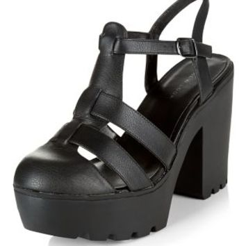 Black Chunky Caged Block Heel Sandals