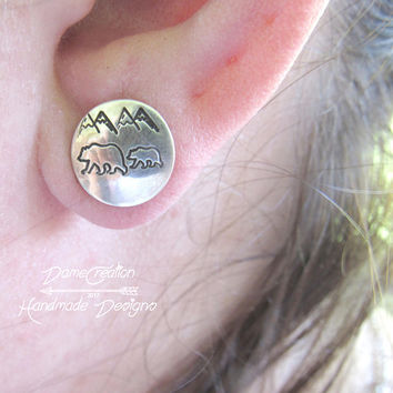 Bear Stud Earrings, Bear Earrings, Sterling Silver, Silver Stud Earrings, Mom Gift, Bear Jewelry, Mountain Jewelry, Nature Jewelry