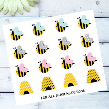 Bumble Bee Planner Stickers, Decorative Planner Stickers, Fits Erin Condren Planner, Life Planner Sticker