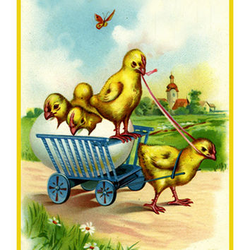 Vintage Easter Baby Chick in a Cart Counted Cross Stitch or Counted Needlepoint Pattern