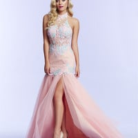Mac Duggal 10057 Halter Mermaid Prom Dress Evening Gown $550