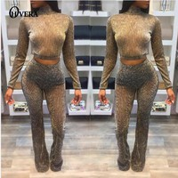 OHVERA 2017 Women Two Piece Set Female Winter Hoodies Top + Pants Ladies Long Sleeve Hollow Out Outfit Femme 2 Piece